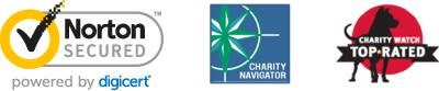 Norton Secured, Charity Navigator, Charity Watch Top Rated